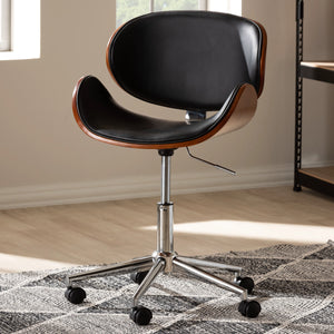 Baxton Studio Ambrosio Modern and Contemporary Black Faux Leather Upholstered Chrome-Finished Metal Adjustable Swivel Office Chair Baxton Studio-office chairs-Minimal And Modern - 8