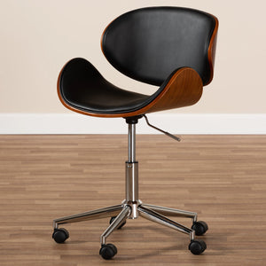 Baxton Studio Ambrosio Modern and Contemporary Black Faux Leather Upholstered Chrome-Finished Metal Adjustable Swivel Office Chair Baxton Studio-office chairs-Minimal And Modern - 9