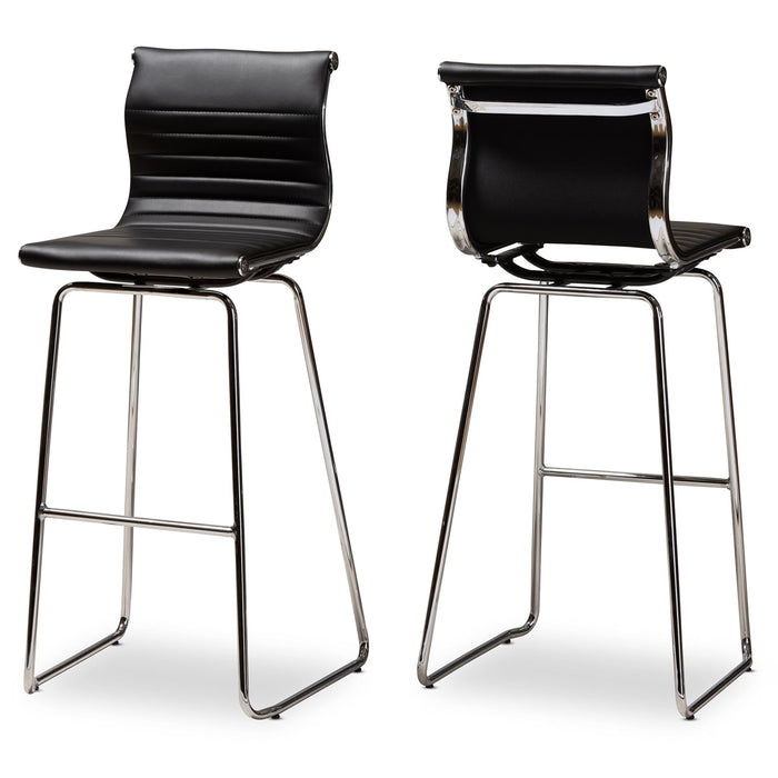 Baxton Studio Giorgio Modern and Contemporary Black Faux Leather Upholstered Chrome-Finished Steel Bar Stool Set Baxton Studio-Bar Stools-Minimal And Modern - 1