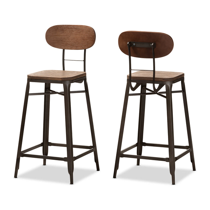 Baxton Studio Varek Vintage Rustic Industrial Style Bamboo and Rust-Finished Steel Stackable Bar Stool Set Baxton Studio-Bar Stools-Minimal And Modern - 1