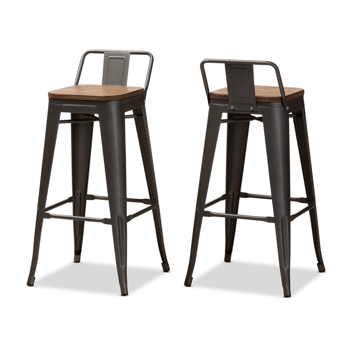 Baxton Studio Henri Vintage Rustic Industrial Style Tolix-Inspired Bamboo and Gun Metal-Finished Steel Stackable Bar Stool with Backrest Set Baxton Studio-Bar Stools-Minimal And Modern - 1