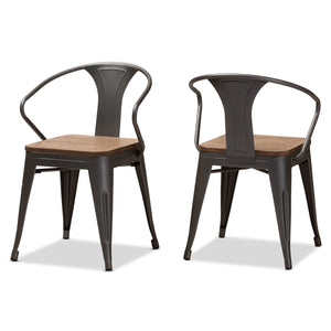 Baxton Studio Henri Vintage Rustic Industrial Style Tolix-Inspired Bamboo and Steel Stackable Side Chair Set of 2 Baxton Studio-dining chair-Minimal And Modern - 1