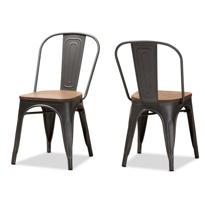 Baxton Studio Henri Vintage Rustic Industrial Style Tolix-Inspired Bamboo and Gun Metal-Finished Steel Stackable Dining Chair Set of 2 Baxton Studio-dining chair-Minimal And Modern - 1