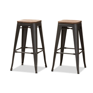 Baxton Studio Henri Vintage Rustic Industrial Style Tolix-Inspired Bamboo and Gun Metal-Finished Steel Stackable Bar Stool  Set Baxton Studio-Bar Stools-Minimal And Modern - 1