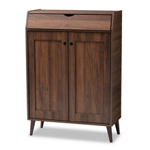 Baxton Studio Cormier Mid-Century Modern Walnut Brown finished 2-Door Wood Entryway Shoe Storage Cabinet Baxton Studio-Shoe Cabinets-Minimal And Modern - 1