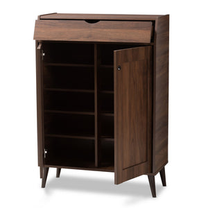 Baxton Studio Cormier Mid-Century Modern Walnut Brown finished 2-Door Wood Entryway Shoe Storage Cabinet
