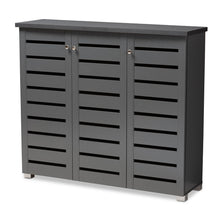 Baxton Studio Adalwin Modern and Contemporary Dark Gray 3-Door Wooden Entryway Shoe Storage Cabinet Baxton Studio-Shoe Cabinets-Minimal And Modern - 1