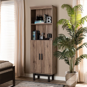 Baxton Studio Arend Modern and Contemporary Two-Tone Oak and Ebony Wood 2-Door Bookcase
