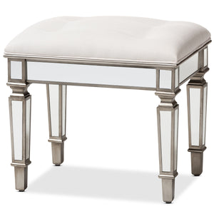 Baxton Studio Marielle Hollywood Regency Glamour Style Off White Fabric Upholstered Mirrored Ottoman Vanity Bench Baxton Studio-ottomans-Minimal And Modern - 1