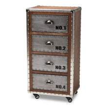 Baxton Studio Avere French Industrial Brown Wood and Silver Metal 4-Drawer Rolling Accent Chest Baxton Studio-Chests-Minimal And Modern - 1