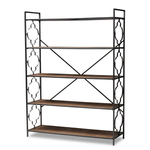Baxton Studio Mirna Industrial Black Iron Metal and Natural Oak Wood 5-Shelf Quatrefoil Accent Bookcase Baxton Studio-Shelving-Minimal And Modern - 1