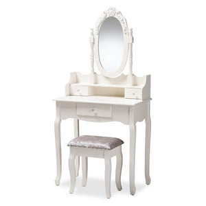 Baxton Studio Veronique Traditional French Provincial White Finished Wood 2-Piece Vanity Table with Mirror and Ottoman Baxton Studio-Bathroom Vanities-Minimal And Modern - 1