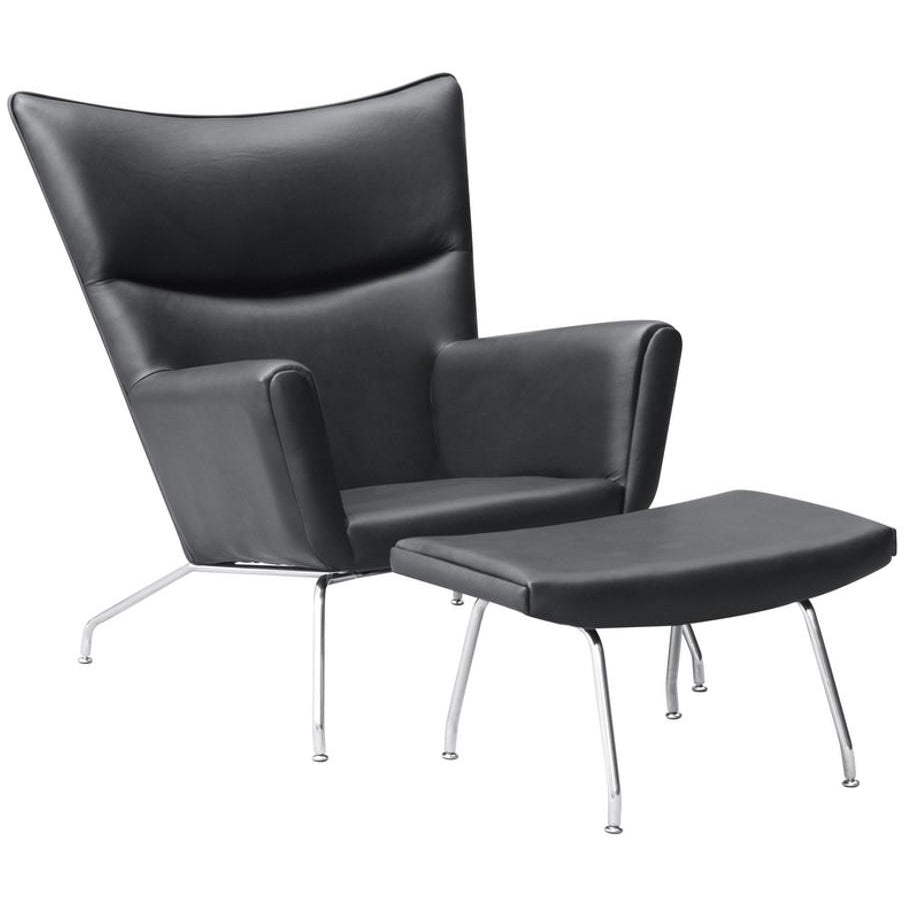 Finemod Imports Modern Wing Chair & Ottoman In Leather FMI9233-Minimal & Modern