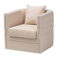 Baxton Studio Micah Modern and Contemporary Beige Fabric Upholstered Tufted Swivel Chair Baxton Studio-chairs-Minimal And Modern - 1