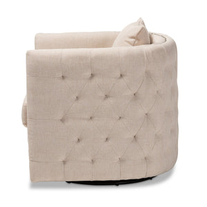 Baxton Studio Micah Modern and Contemporary Beige Fabric Upholstered Tufted Swivel Chair