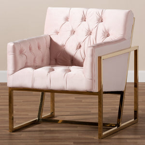 Baxton Studio Milano Modern and Contemporary Pink Velvet Fabric Upholstered Gold Finished Lounge Chair