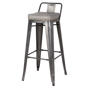 Metropolis PU Leather Low Back Bar Stool - Set of 4 by New Pacific Direct - 9300031