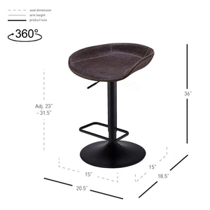 Rogue PU Leather Gaslift Bar Stool - Set of 2 by New Pacific Direct - 9300085