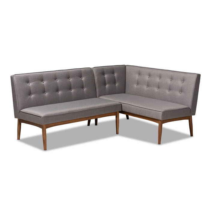 Baxton Studio Arvid Mid-Century Modern Gray Fabric Upholstered 2-Piece Wood Dining Nook Banquette Set Baxton Studio-benches-Minimal And Modern - 1