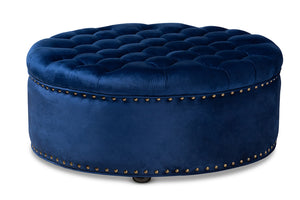 Baxton Studio Iglehart Modern and Contemporary Royal Blue Velvet Fabric Upholstered Tufted Cocktail Ottoman Baxton Studio-ottomans-Minimal And Modern - 1