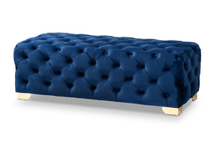 Baxton Studio Avara Glam and Luxe Royal Blue Velvet Fabric Upholstered Gold Finished Button Tufted Bench Ottoman Baxton Studio-ottomans-Minimal And Modern - 1