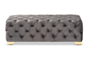 Baxton Studio Avara Glam and Luxe Gray Velvet Fabric Upholstered Gold Finished Button Tufted Bench Ottoman