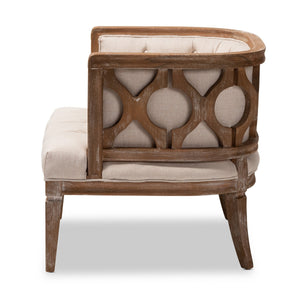 Baxton Studio Esme French Provincial Beige Linen Fabric Upholstered and White-Washed Oak Wood Accent Barrel Chair