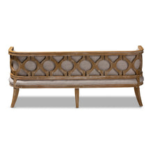 Baxton Studio Agnes French Provincial Beige Linen Fabric Upholstered and White-Washed Oak Wood Sofa
