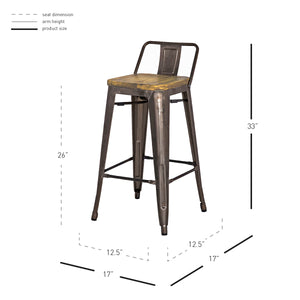 Metropolis Low Back Counter Stool - Set of 4 by New Pacific Direct - 938533