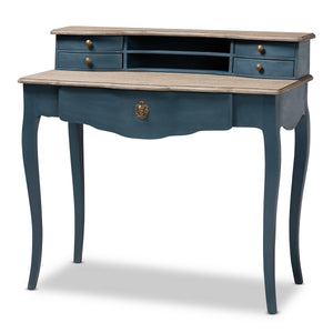 Baxton Studio Celestine French Provincial Blue Spruce Finished Wood Accent Writing Desk Baxton Studio-Desks-Minimal And Modern - 1