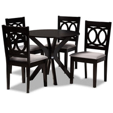 Baxton Studio Sanne Modern and Contemporary Grey Fabric Upholstered and Dark Brown Finished Wood 5-Piece Dining Set Baxton Studio-Dining Sets-Minimal And Modern - 1