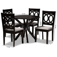 Baxton Studio Sanne Modern and Contemporary Grey Fabric Upholstered and Dark Brown Finished Wood 5-Piece Dining Set