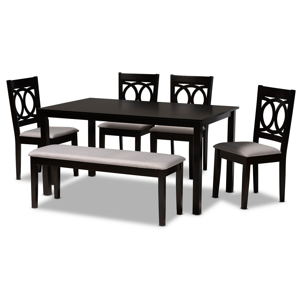 Baxton Studio Bennett Modern and Contemporary Grey Fabric Upholstered and Dark Brown Finished Wood 6-Piece Dining Set Baxton Studio-Dining Sets-Minimal And Modern - 1