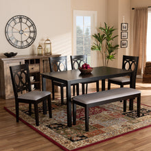 Baxton Studio Bennett Modern and Contemporary Grey Fabric Upholstered and Dark Brown Finished Wood 6-Piece Dining Set