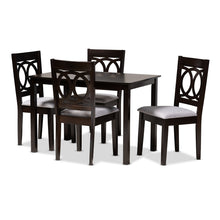 Baxton Studio Lenoir Modern and Contemporary Gray Fabric Upholstered Espresso Brown Finished Wood 5-Piece Dining Set Baxton Studio-Dining Sets-Minimal And Modern - 1