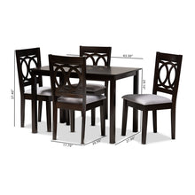 Baxton Studio Lenoir Modern and Contemporary Gray Fabric Upholstered Espresso Brown Finished Wood 5-Piece Dining Set