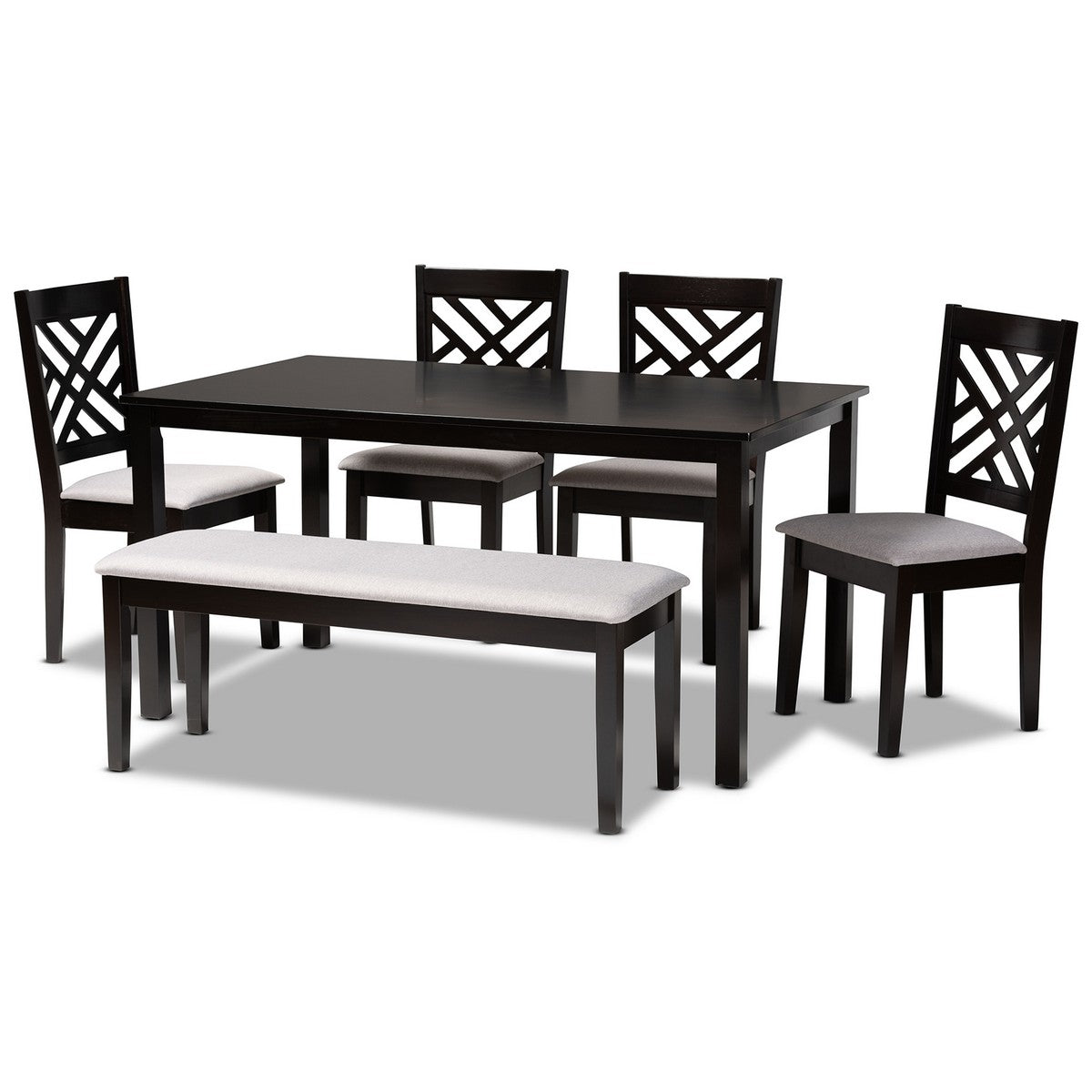 Baxton Studio Gustavo Modern and Contemporary Grey Fabric Upholstered and Dark Brown Finished Wood 6-Piece Dining Set Baxton Studio-Dining Sets-Minimal And Modern - 1