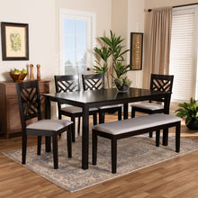 Baxton Studio Gustavo Modern and Contemporary Grey Fabric Upholstered and Dark Brown Finished Wood 6-Piece Dining Set