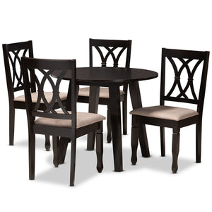 Baxton Studio Millie Modern and Contemporary Sand Fabric Upholstered and Dark Brown Finished Wood 5-Piece Dining Set Baxton Studio-Dining Sets-Minimal And Modern - 1