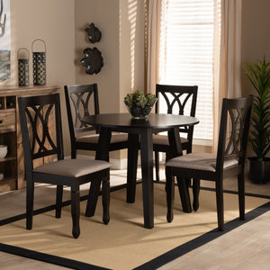 Baxton Studio Millie Modern and Contemporary Sand Fabric Upholstered and Dark Brown Finished Wood 5-Piece Dining Set
