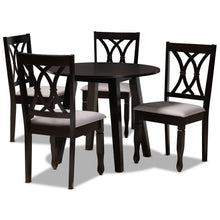 Baxton Studio Millie Modern and Contemporary Grey Fabric Upholstered and Dark Brown Finished Wood 5-Piece Dining Set Baxton Studio-Dining Sets-Minimal And Modern - 1