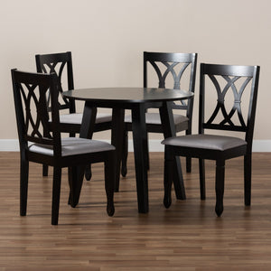 Baxton Studio Millie Modern and Contemporary Grey Fabric Upholstered and Dark Brown Finished Wood 5-Piece Dining Set