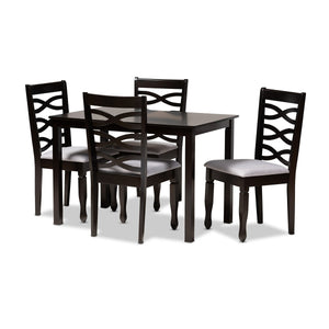 Baxton Studio Lanier Modern and Contemporary Gray Fabric Upholstered Espresso Brown Finished Wood 5-Piece Dining Set Baxton Studio-Dining Sets-Minimal And Modern - 1