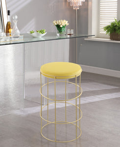 Meridian Furniture Rebar Yellow Velvet Counter Stool
