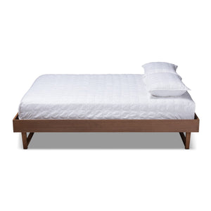Baxton Studio Liliya Mid-Century Modern Walnut Brown Finished Wood Queen Size Platform Bed Frame Baxton Studio-Bed Frames-Minimal And Modern - 1