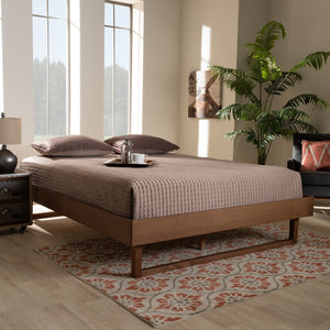 Baxton Studio Liliya Mid-Century Modern Walnut Brown Finished Wood Full Size Platform Bed Frame