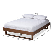 Baxton Studio Liliya Mid-Century Modern Walnut Brown Finished Wood Queen Size Platform Bed Frame