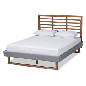 Baxton Studio Rina Modern and Contemporary Dark Grey Fabric Upholstered and Ash Walnut Brown Finished Wood Queen Size Platform Bed Baxton Studio-beds-Minimal And Modern - 1