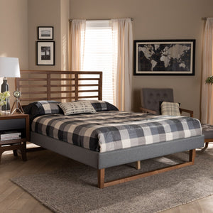 Baxton Studio Rina Modern and Contemporary Dark Grey Fabric Upholstered and Ash Walnut Brown Finished Wood Queen Size Platform Bed