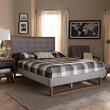 Baxton Studio Livinia Modern Transitional Light Grey Fabric Upholstered and Ash Walnut Brown Finished Wood King Size Platform Bed